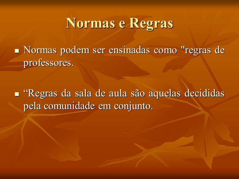Normas e Regras Normas podem ser ensinadas como regras de professores.