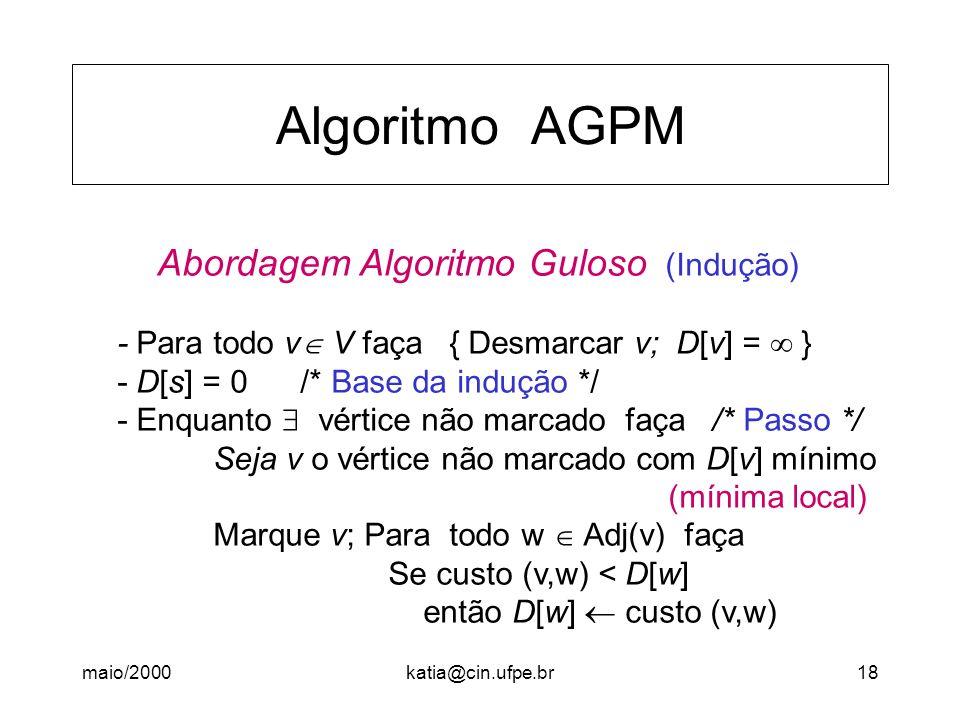 Algoritmo AGPM Abordagem Algoritmo Guloso (Indução)