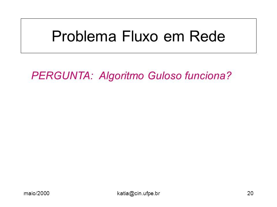 Problema Fluxo em Rede PERGUNTA: Algoritmo Guloso funciona maio/2000