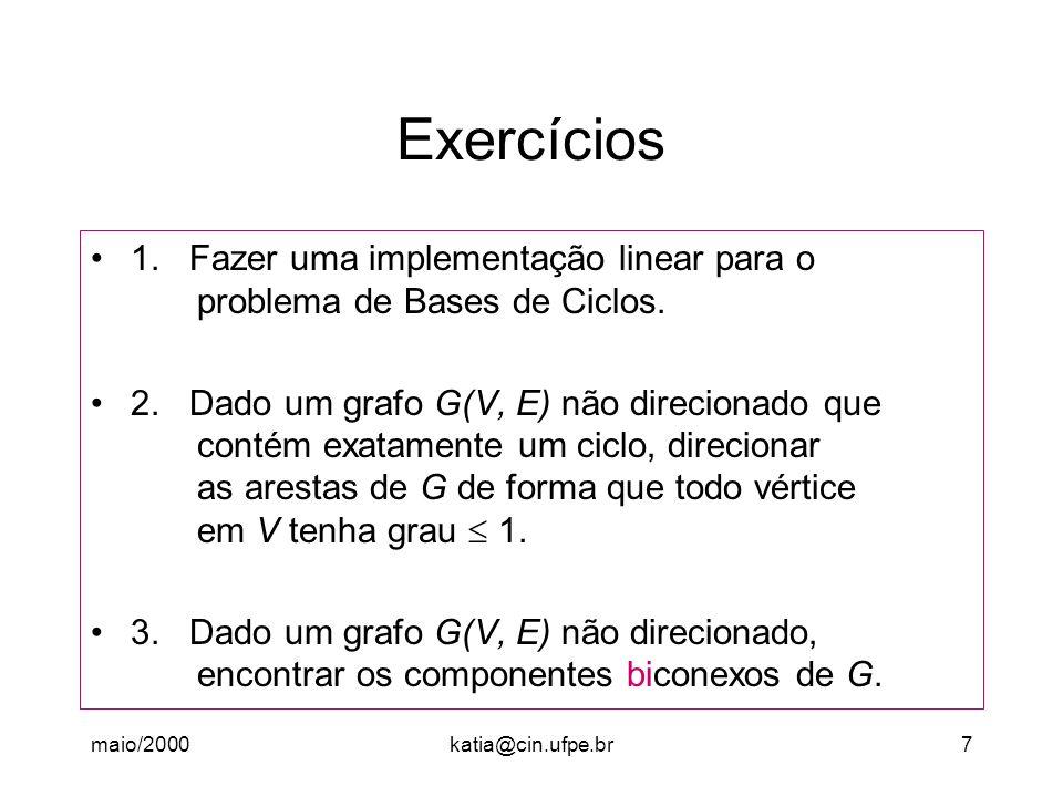 Exercícios 1. Fazer uma implementação linear para o problema de Bases de Ciclos.