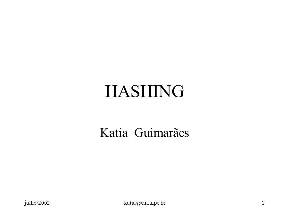 HASHING Katia Guimarães julho/2002 katia@cin.ufpe.br