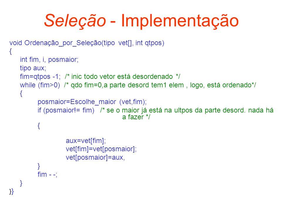 Seleção - Implementação