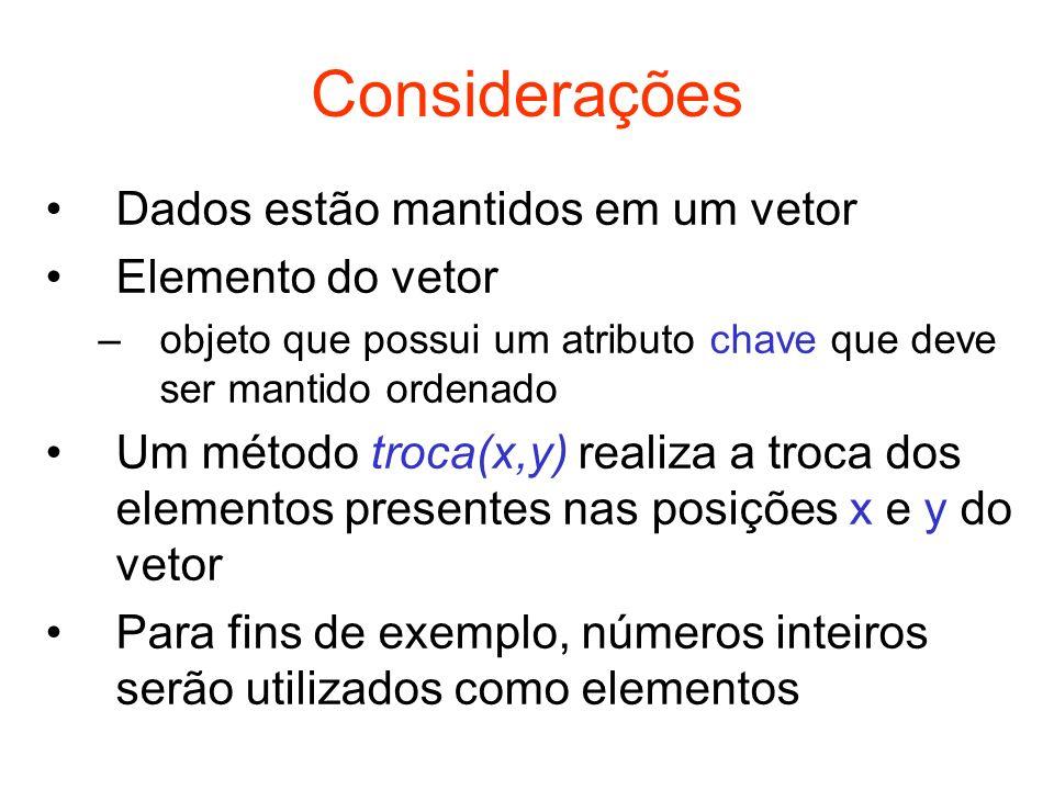 Considerações Dados estão mantidos em um vetor Elemento do vetor