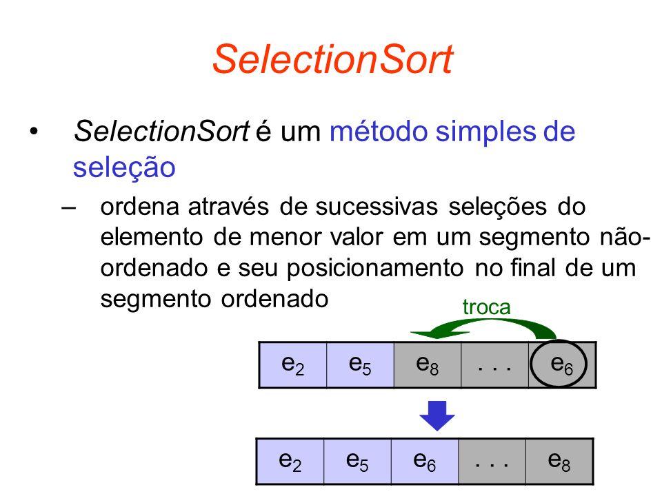 SelectionSort SelectionSort é um método simples de seleção