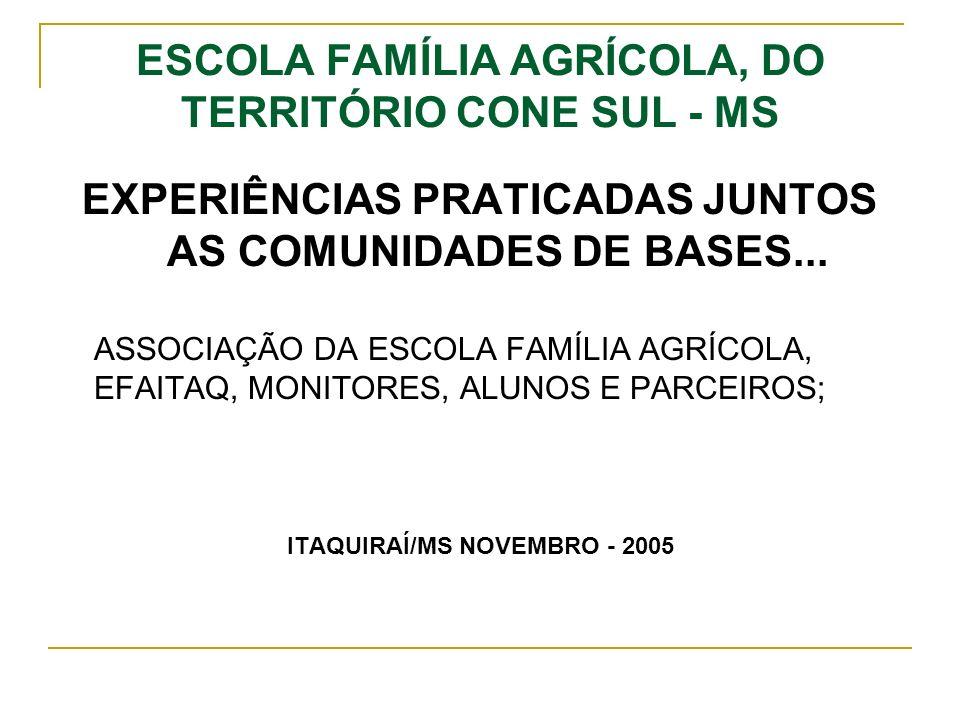 ESCOLA FAMÍLIA AGRÍCOLA, DO TERRITÓRIO CONE SUL - MS