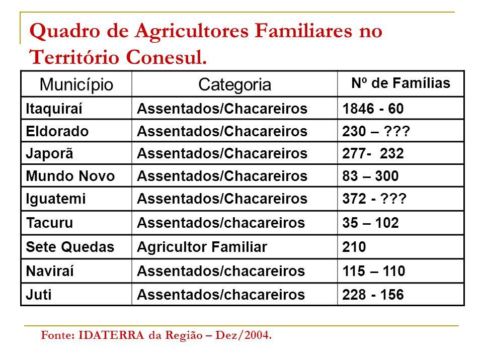 Quadro de Agricultores Familiares no Território Conesul.