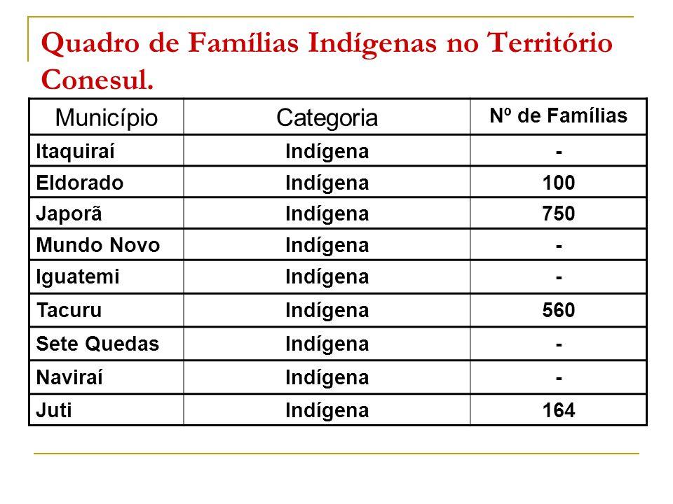 Quadro de Famílias Indígenas no Território Conesul.