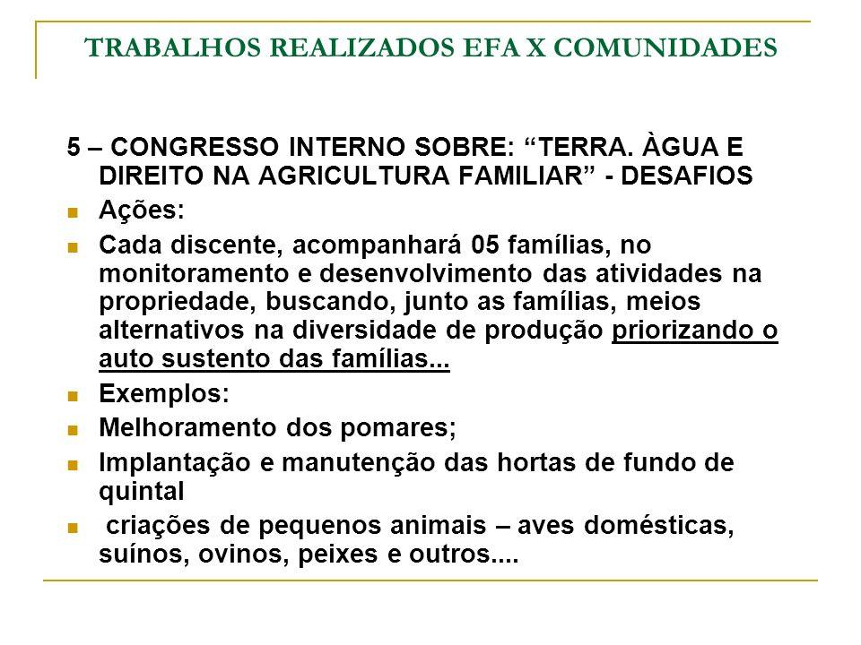 TRABALHOS REALIZADOS EFA X COMUNIDADES