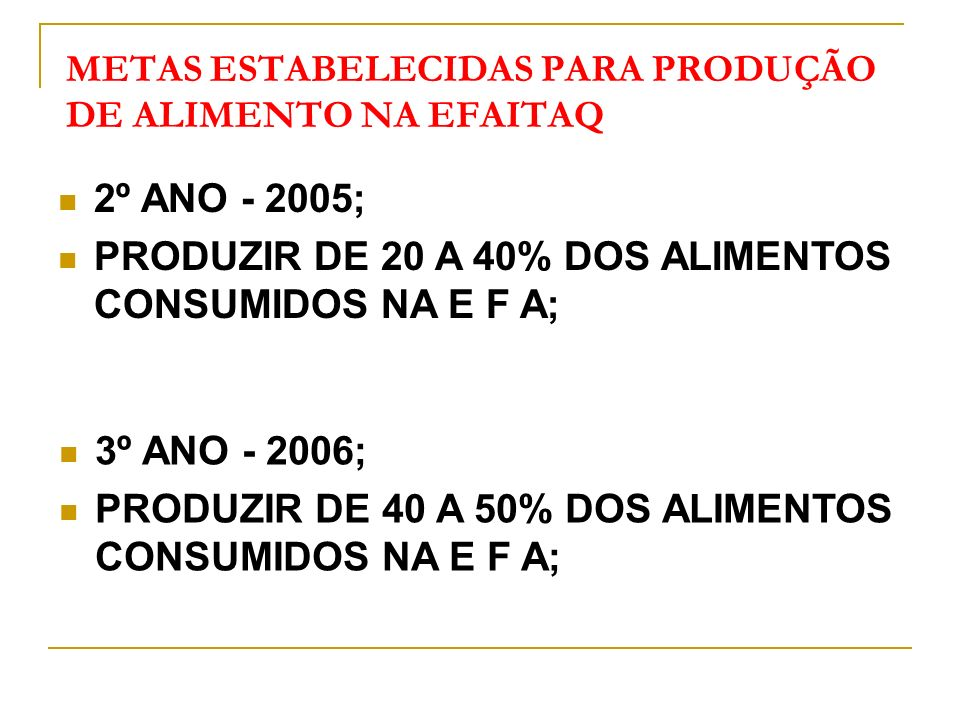METAS ESTABELECIDAS PARA PRODUÇÃO DE ALIMENTO NA EFAITAQ