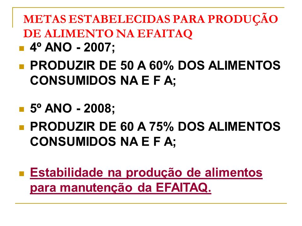 METAS ESTABELECIDAS PARA PRODUÇÃO DE ALIMENTO NA EFAITAQ