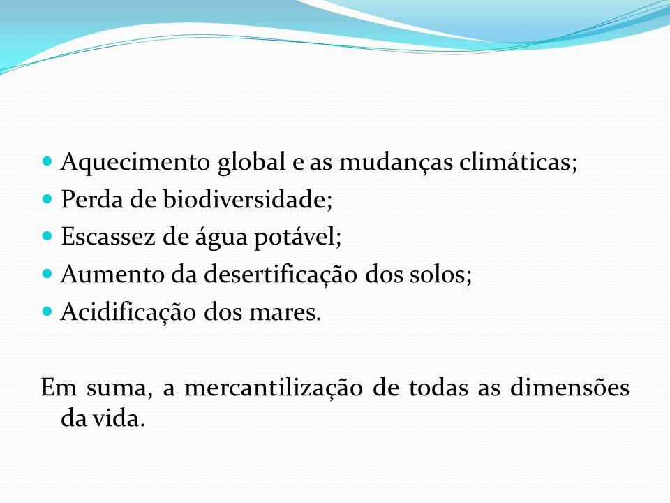 Aquecimento global e as mudanças climáticas;