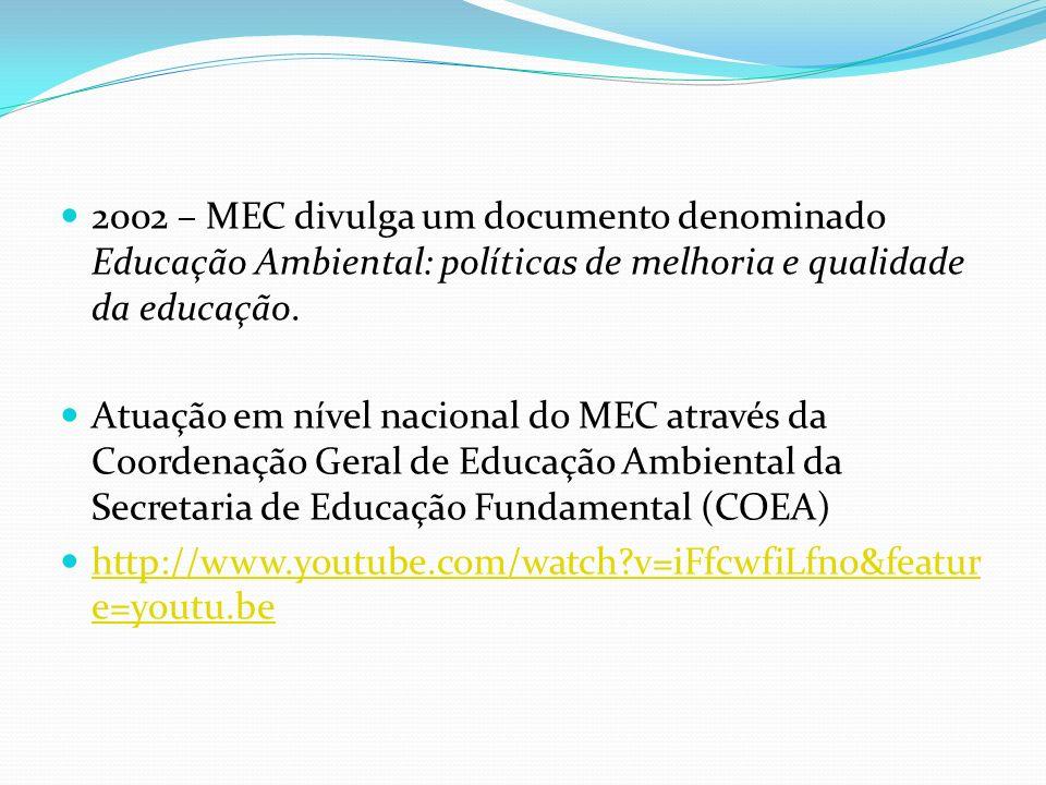 2002 – MEC divulga um documento denominado Educação Ambiental: políticas de melhoria e qualidade da educação.