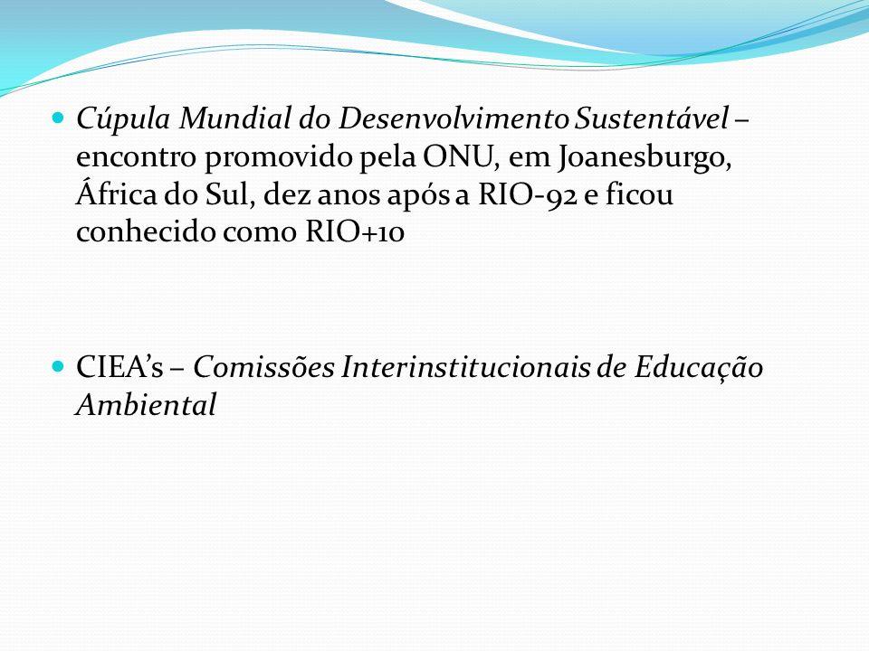 Cúpula Mundial do Desenvolvimento Sustentável – encontro promovido pela ONU, em Joanesburgo, África do Sul, dez anos após a RIO-92 e ficou conhecido como RIO+10
