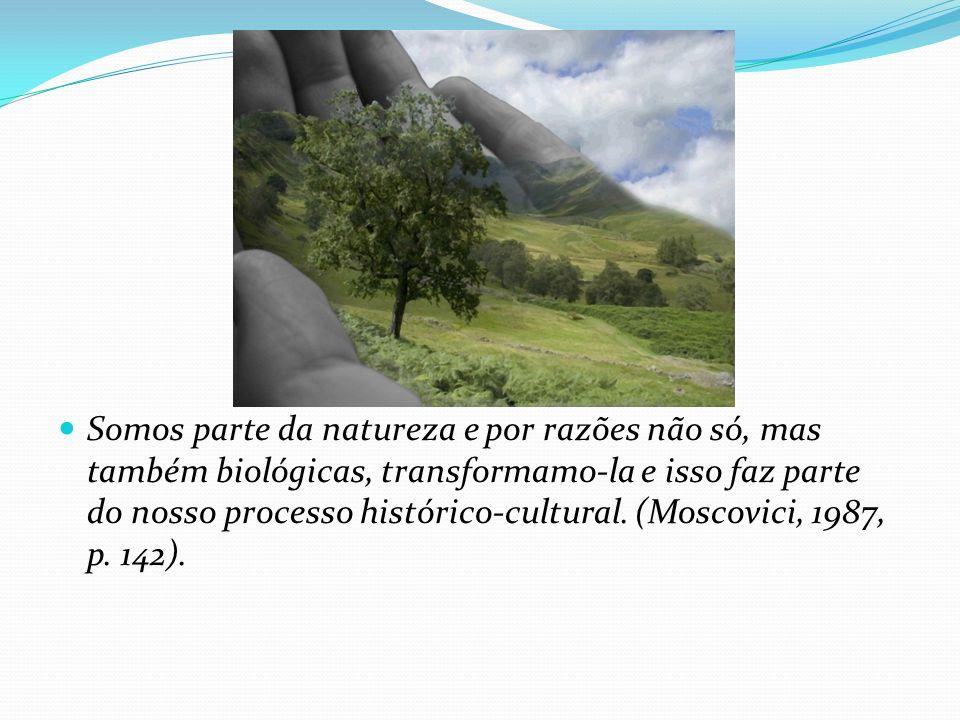 Somos parte da natureza e por razões não só, mas também biológicas, transformamo-la e isso faz parte do nosso processo histórico-cultural.