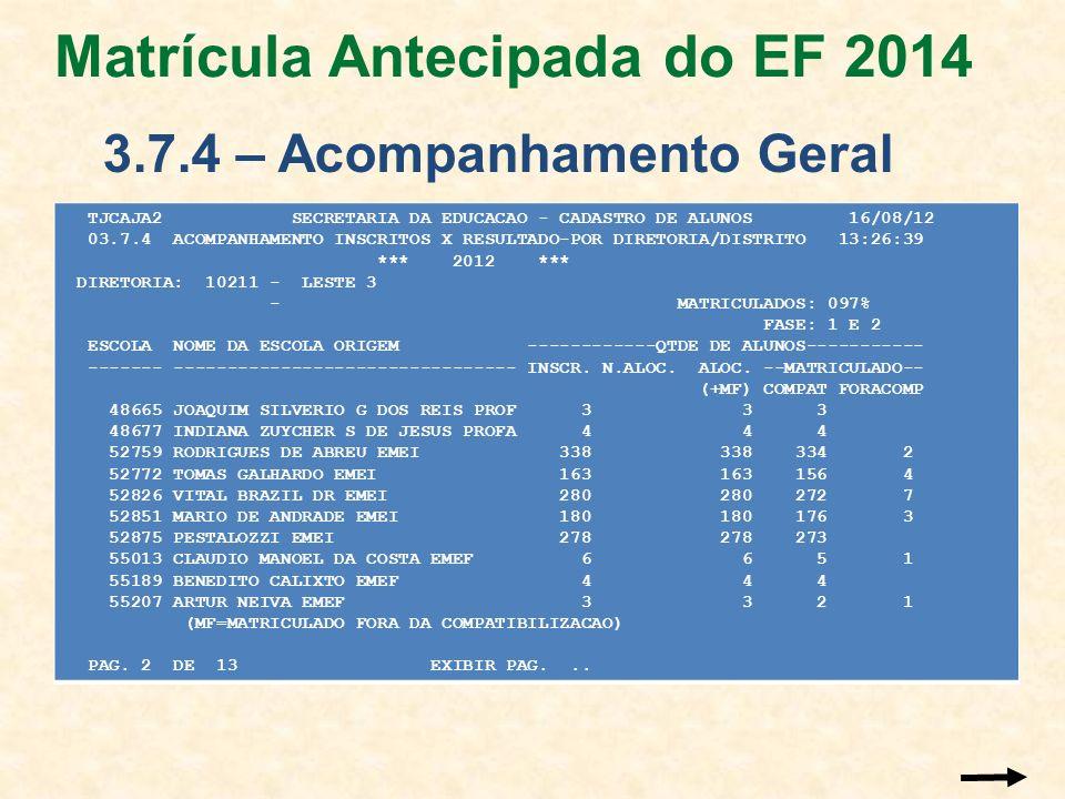 Matrícula Antecipada do EF 2014 3.7.4 – Acompanhamento Geral