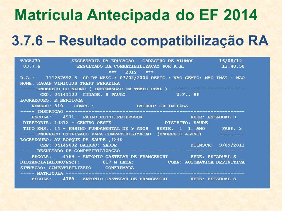 Matrícula Antecipada do EF 2014 3.7.6 – Resultado compatibilização RA