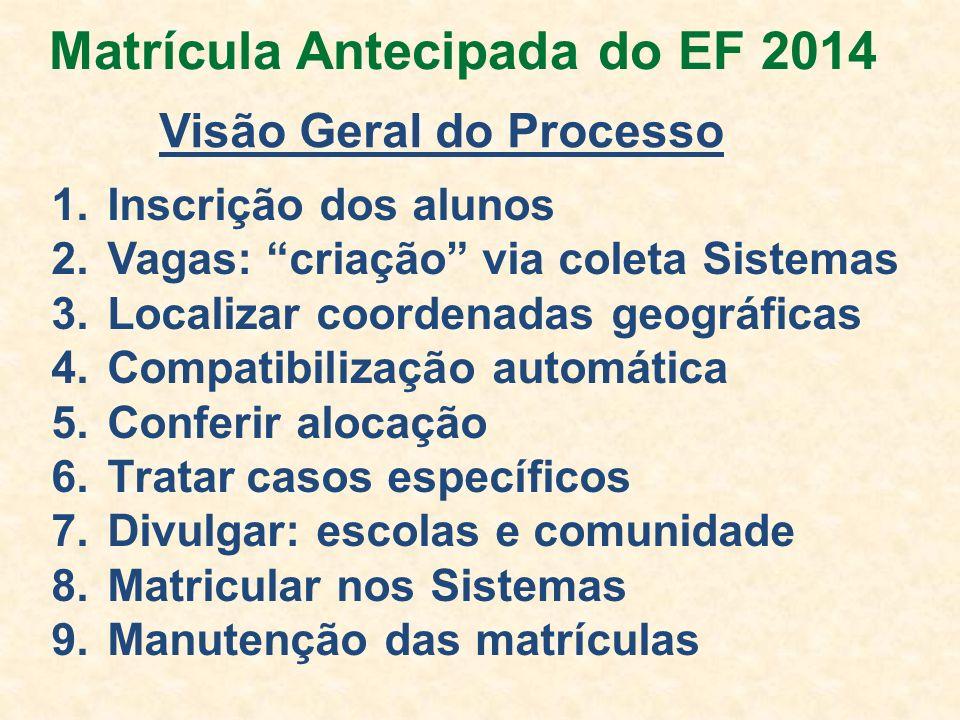 Matrícula Antecipada do EF 2014 Visão Geral do Processo