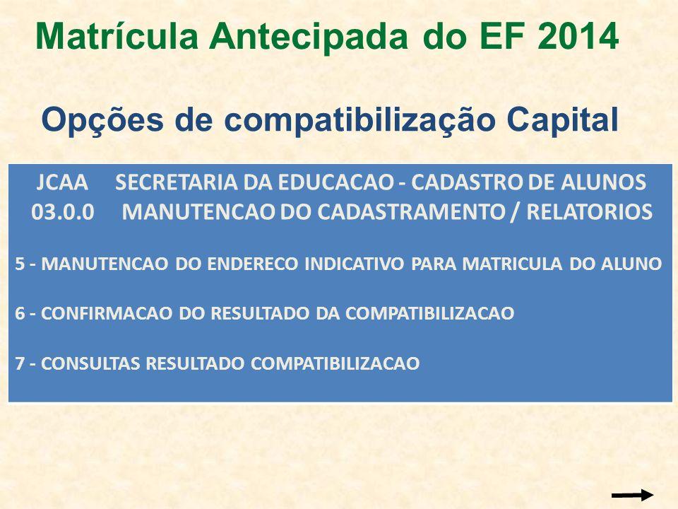 Matrícula Antecipada do EF 2014 Opções de compatibilização Capital