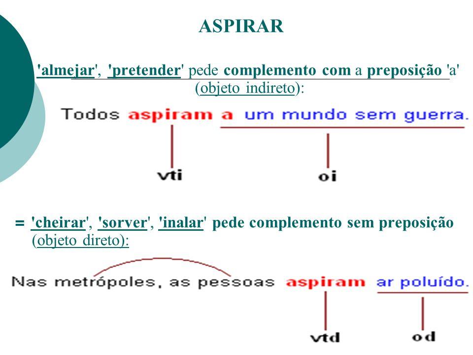 ASPIRAR= almejar , pretender pede complemento com a preposição a (objeto indireto):