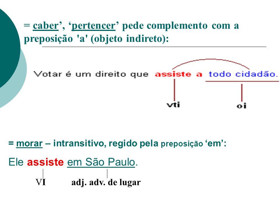 Ele assiste em São Paulo. VI adj. adv. de lugar