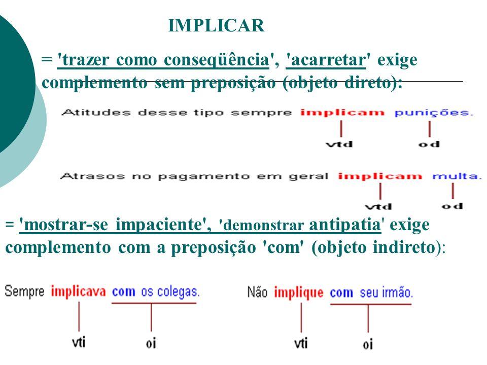 IMPLICAR = trazer como conseqüência , acarretar exige complemento sem preposição (objeto direto):
