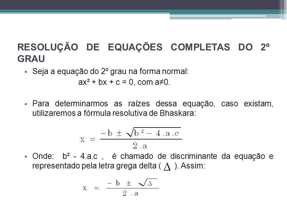 RESOLUÇÃO DE EQUAÇÕES COMPLETAS DO 2º GRAU