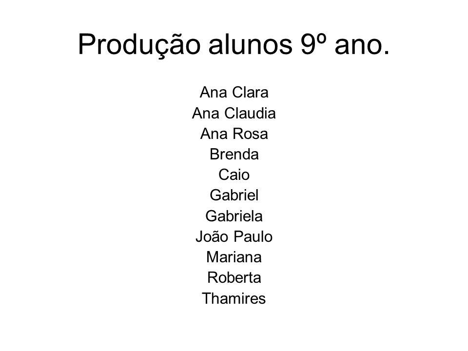 Produção alunos 9º ano. Ana Clara Ana Claudia Ana Rosa Brenda Caio