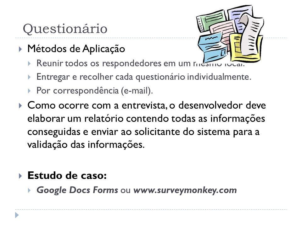 Questionário Métodos de Aplicação