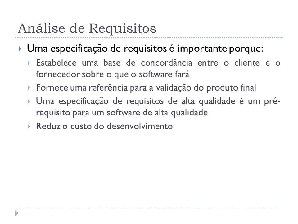 Análise de Requisitos Uma especificação de requisitos é importante porque: