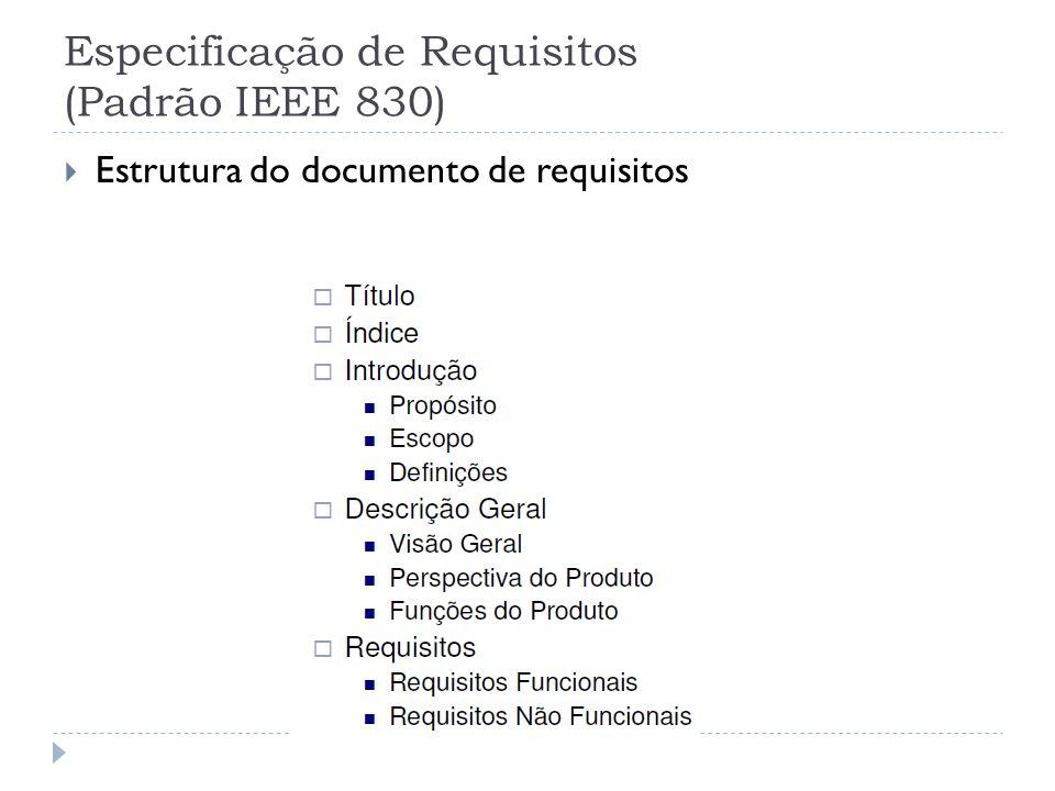 Especificação de Requisitos (Padrão IEEE 830)