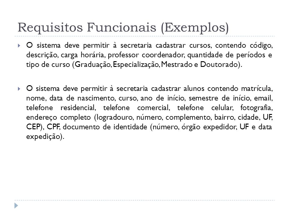 Requisitos Funcionais (Exemplos)