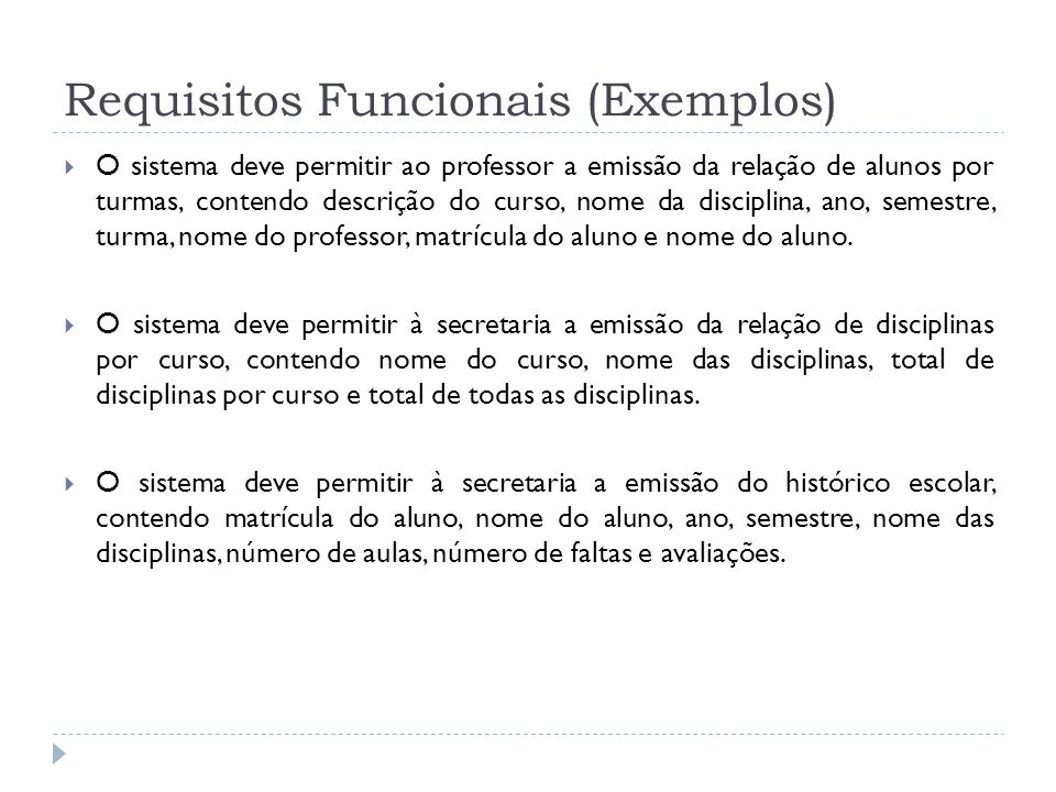 Requisitos Funcionais (Exemplos)