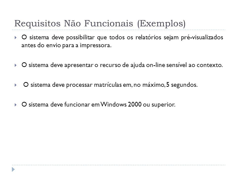 Requisitos Não Funcionais (Exemplos)
