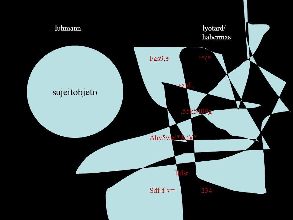 sujeitobjeto luhmann lyotard/ habermas Fgs9,e ^*(* sa;d., ,55k5409g