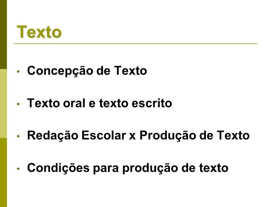 Texto Concepção de Texto Texto oral e texto escrito