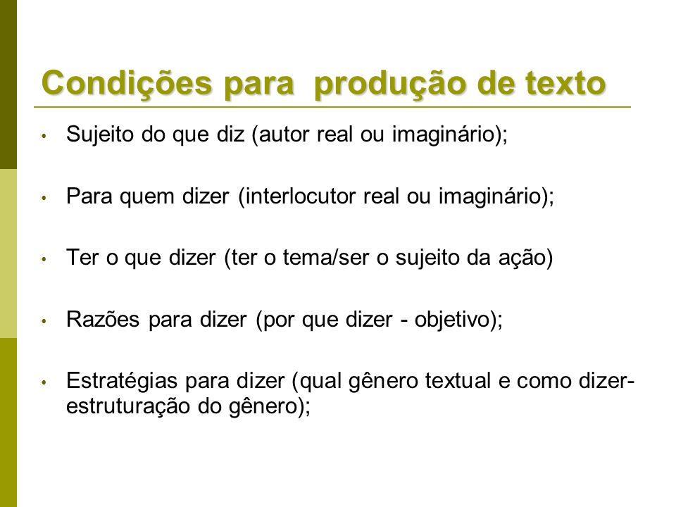 Condições para produção de texto