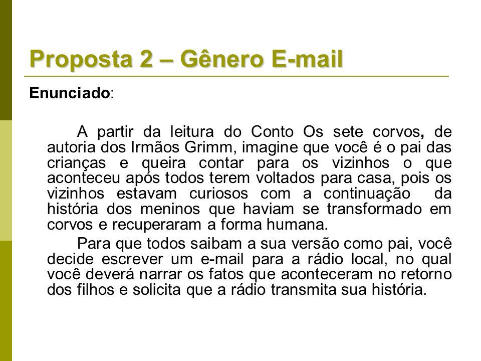 Proposta 2 – Gênero E-mail