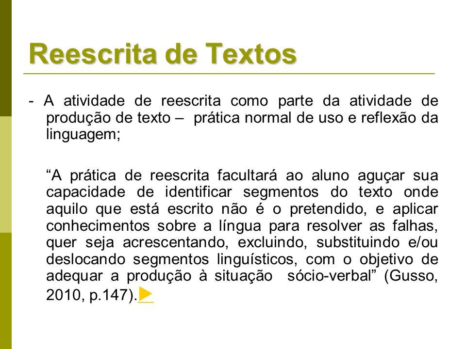 Reescrita de Textos- A atividade de reescrita como parte da atividade de produção de texto – prática normal de uso e reflexão da linguagem;
