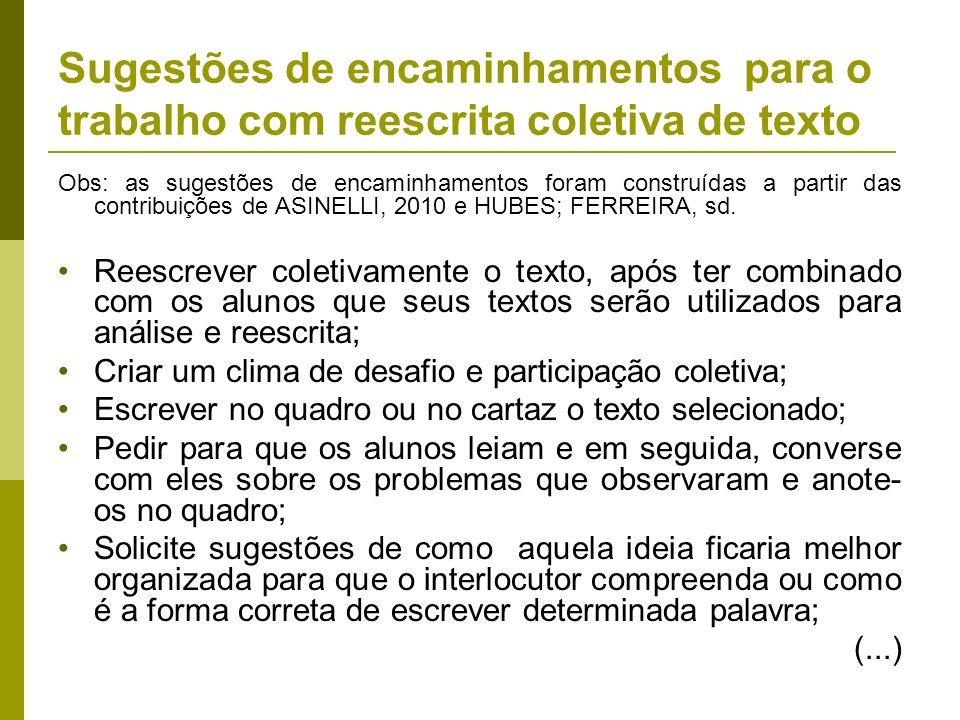 Sugestões de encaminhamentos para o trabalho com reescrita coletiva de texto