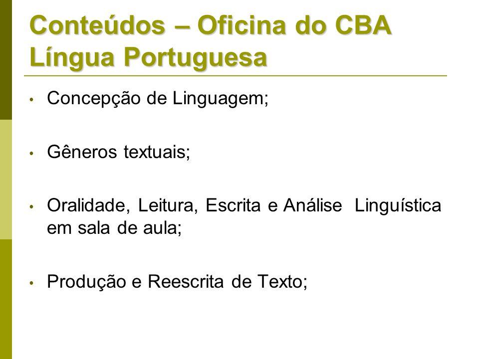 Conteúdos – Oficina do CBA Língua Portuguesa