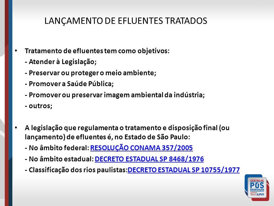 LANÇAMENTO DE EFLUENTES TRATADOS