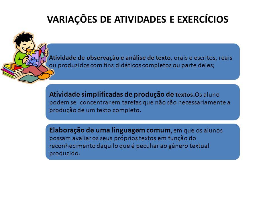 VARIAÇÕES DE ATIVIDADES E EXERCÍCIOS