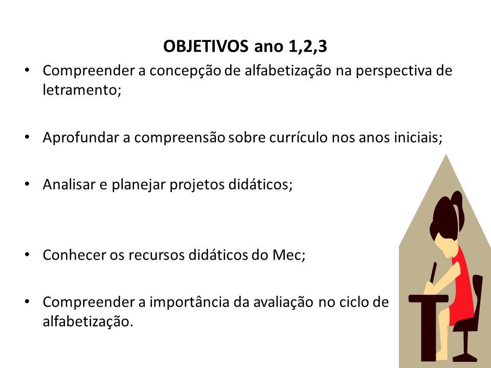 OBJETIVOS ano 1,2,3Compreender a concepção de alfabetização na perspectiva de letramento;