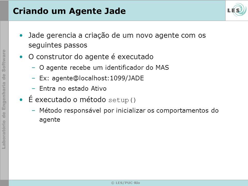 Criando um Agente JadeJade gerencia a criação de um novo agente com os seguintes passos. O construtor do agente é executado.