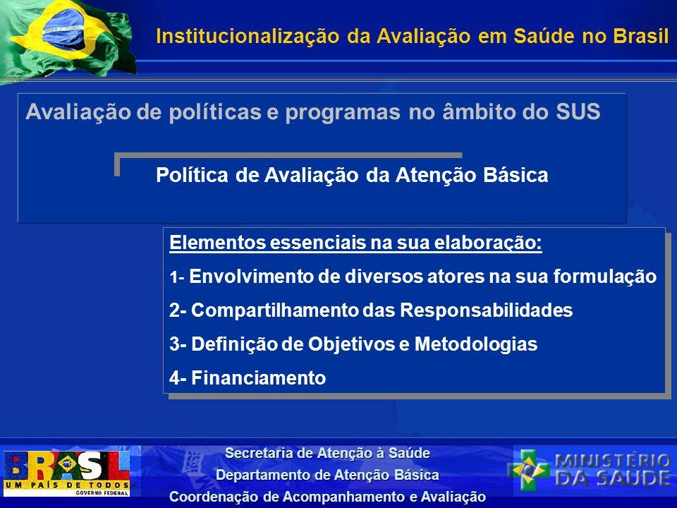 Avaliação de políticas e programas no âmbito do SUS