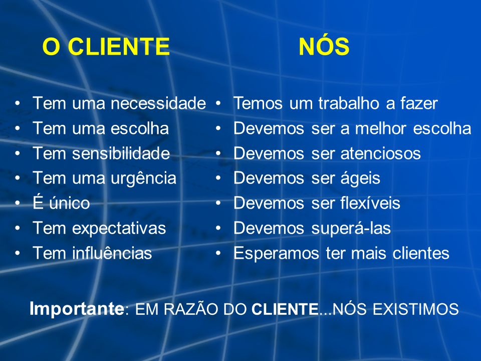 Importante: EM RAZÃO DO CLIENTE...NÓS EXISTIMOS