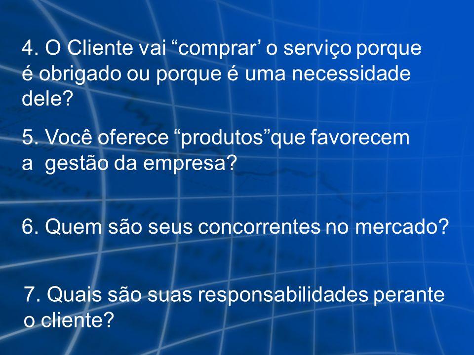 4. O Cliente vai comprar' o serviço porque é obrigado ou porque é uma necessidade dele