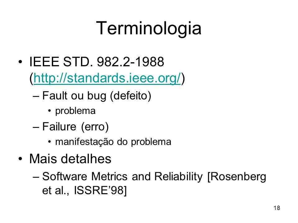 Terminologia IEEE STD. 982.2-1988 (http://standards.ieee.org/)