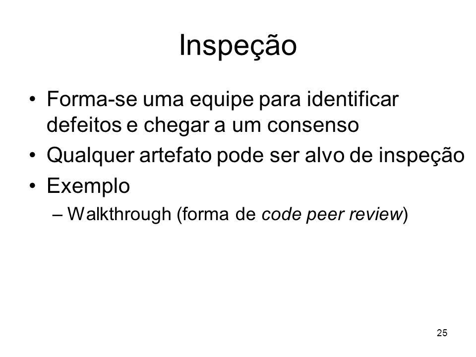 Inspeção Forma-se uma equipe para identificar defeitos e chegar a um consenso. Qualquer artefato pode ser alvo de inspeção.