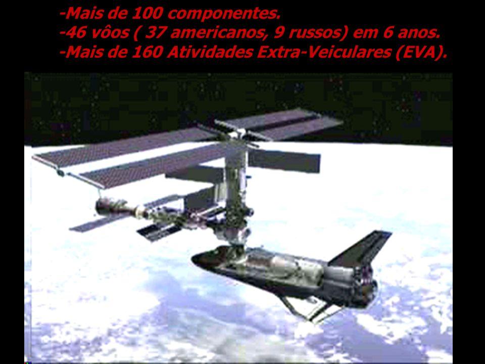-Mais de 100 componentes.-46 vôos ( 37 americanos, 9 russos) em 6 anos. -Mais de 160 Atividades Extra-Veiculares (EVA).